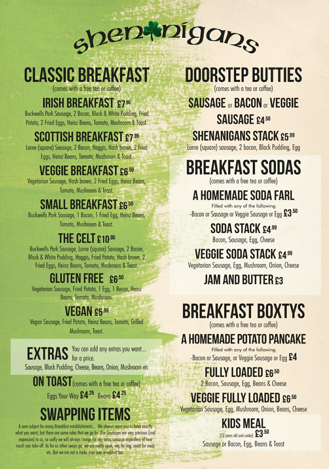 Shenanigans Irish Bar, Guinness & Breakfast Bar, Southsea, Portsmouth. Classic Breakfasts, Veggie Breakfasts, Glutan Free Breakfasts & Great Coffee